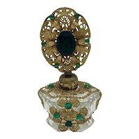 Czech Jeweled Green Rhinestones Filigree Perfume Bottle