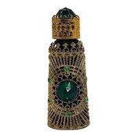 Irice Czech Filigree Perfume Bottle Green Jewels
