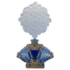 Large Vintage Czech Blue Perfume Bottle