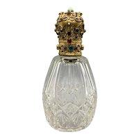 Vintage Czech Crystal Austrian Jeweled Top Perfume Bottle