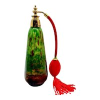 1930s French Perfume Bottle Atomizer Green Red Spatter
