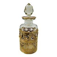 Napoleon III Crystal and Dore Bronze Perfume Bottle