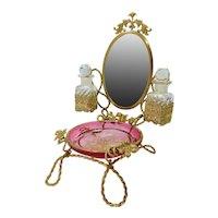 Beautiful Palais Royal Baccarat Perfume Bottle Holder with Enameled Tray