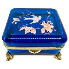 Large Moser Sapphire Blue Box Casket Bronze Mountings