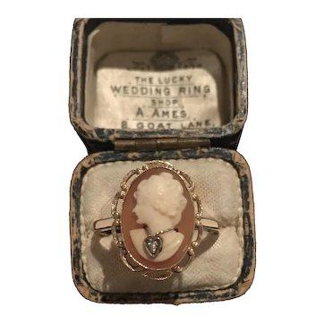 Vintage Diamond Cameo Ring, 10 K Cameo Ring, Cameo Jewellery, Divine statement rare piece.
