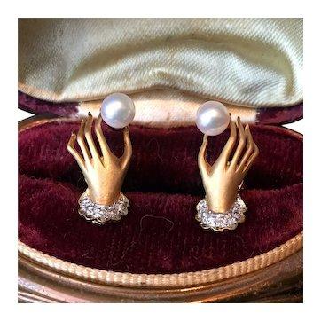 Vintage Diamond Fede Earrings, 18 Karat Fede Earrings, Diamond Earrings, Fede Jewellery, breath taking pair.