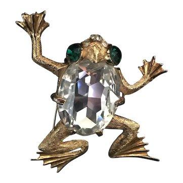 Vintage Frog Brooch, Costume Frog Brooch, Statement Vintage Brooch, Frog Jewellery, striking rare piece.