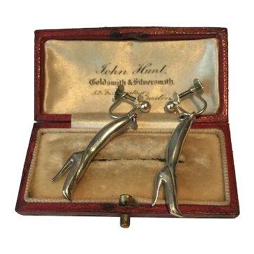 Vintage Earrings, Silver Earrings, Boot Earrings, Sterling silver, rare pair.