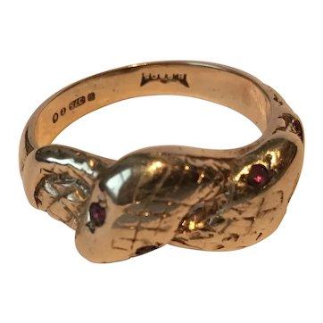 Vintage Snake Ring, 9 Karat Garnet Snake Ring, wonderful rare design.