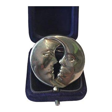 Vintage Moon Brooch, Sterling silver Moon Brooch, Man in the Moon Brooch, Brooch, Moon jewellery