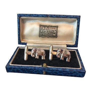 Vintage Elephant Cufflinks, Sterling silver, fantastic design.