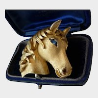 Vintage Horse Brooch, Trifari Horse Brooch, Statement Brooch, Horse Jewellery, striking rare design piece.