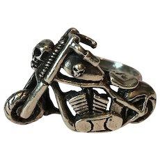 Vintage Motorbike Ring, Skull Ring, Motorbike Jewellery, Motorbike Sterling silver Ring, Biker Ring, statement cool piece.