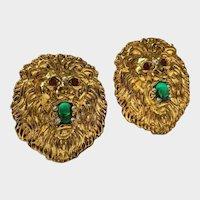 Vintage Lion Earrings, Lion Jewellery, Lion Costume Earrings, Magnificent pair.