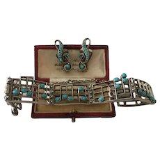 Vintage Music Bracelet and Earrings set, Musical jewellery, Costume Set, fabulous rare set.