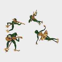 Vintage Frog Brooch Set, Frog Jewellery Set, Divine rare collectors set.
