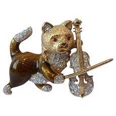Vintage Cat Brooch, Attwood and Sawyer Cat Brooch, Violin Brooch, Cat Jewellery, divine rare collector's piece.