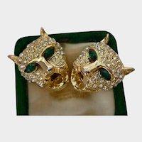 Vintage Panther Earrings, Vintage animal earrings, Panther Jewellery, striking rare design