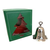 Towel Silversmiths Christmas 1987 Silver Plate Bell Ornament with Box