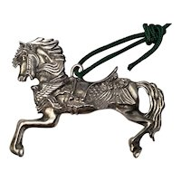 """Vintage Carousel Horse Christmas Tree Ornament Silver Plate - 2.25"""" by 3"""""""
