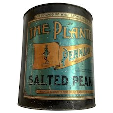 1920's Planters Pennant Brand 10 Lb. Salted Peanut Can