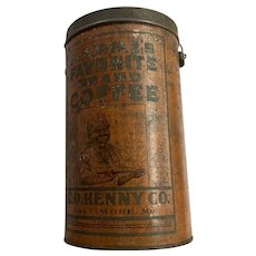 """Vintage Advertising 1920's 4 Pound """"Mammy's Favorite Brand Coffee"""" Can 10.75"""" Tall"""