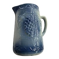 1920's Vintage Salt Glazed Stoneware Pitcher with Grape Pattern
