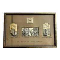 "Vintage Pure Silk Woven Picture w/ Title: ""Ye Views of Olde London"" -  4 Silk Pictures in 1 Frame"