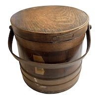 "Antique Wood Sugar Bucket With 3 Overlapping Bands 10"" Tall"