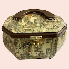 Vintage Decoupage Velour Lined Purse With Wood Handle 1960's