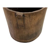 "Antique Early 19c Hand Hewn Wood Bucket Made From a Tree Log - 9.25"" Tall"