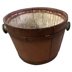 Antique Primitive Red Painted Sap Bucket