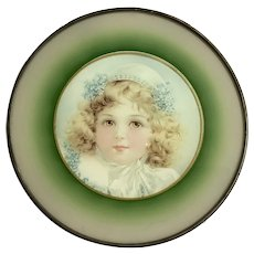 "Antique Victorian Chimney Flue Cover Late 1800's W/ Photo of Little Girl - 9.5"" Diameter"