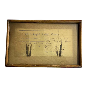 1863 Civil War Officers Discharge Notice from NASHVILLE, TN Hospital Dated and Signed
