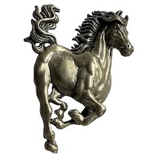 Vintage Sterling Silver Stallion Horse Lapel Pin Made in USA