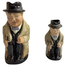 "Lot of 2 Vintage Royal Doulton Winston Churchill Toby Mugs 5.25"" and 3.75"""