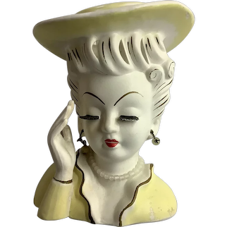 "Vintage Lady Head Vase Mae West 6"" Tall Yellow Dress and Hat"