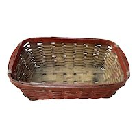Early Red Painted Gathering Basket - Great Early Condition