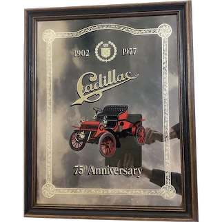 "Vintage 1977 Cadillac 75th Anniversary 16.5"" x 20.5"" Mirrored Glass Framed Dealers Showroom Sign"