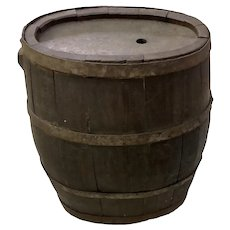 "Antique Oval Wood Staved Whiskey Barrel 16"" Tall"