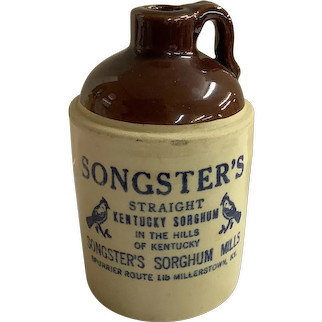 "Vintage Songster's Straight Kentucky Sorghum Crock Jug - 5"" Tall - Millerstown, KY"