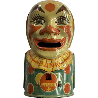 J. Chein & Co. Tin Mechanical Clown Bank with Tongue/Coin Slot