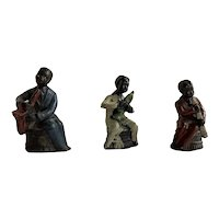 "Lot of Three Early Black Americana Solid Lead Musician Figurines 2.75"" Tall"