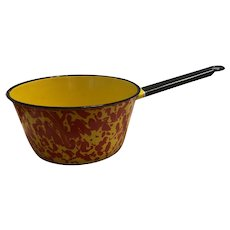 Vintage Graniteware Enamelware Sauce Pan Red and Yellow Swirl