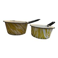 Two Yellow and White Swirl Graniteware Enamelware Sauce Pans