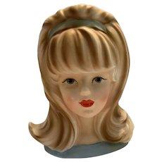 Vintage Inarco Lady Head Vase Blue Dress Green Eyes Light Brown Hair E-2967