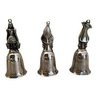 "Three Vintage Reed and Barton Silver Plate Bell Ornaments ""12 Days of Christmas"""