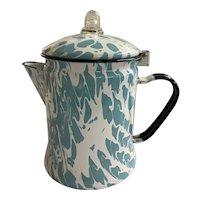 Vintage Granite Enamelware Aqua / Turquoise And White Swirl Coffee Pot