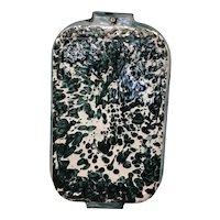 Vintage green and white granite enamelware roaster pan