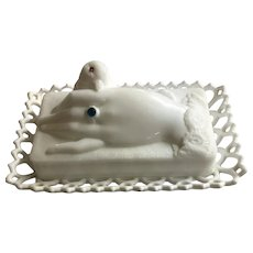 Vintage Milk Glass Hand and Dove Covered Dish Atterbury & Co. Pat'd 1889